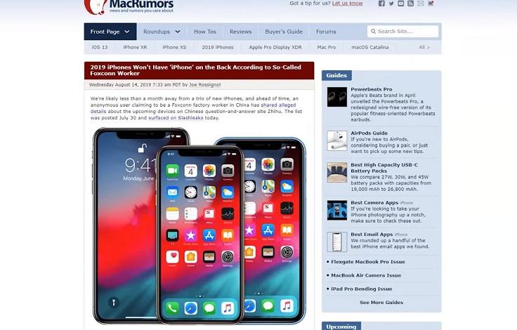 Впервые с задней панели смартфонов Apple исчезнет надпись iPhone