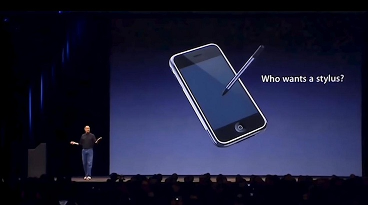 Ну и помним реакцию Стива Джобса на стилусы для смартфонов