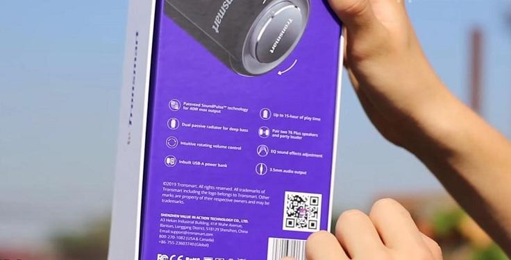 Колонка Tronsmart T6 Plus поставляется в коробке, где можно увидеть основные характеристики