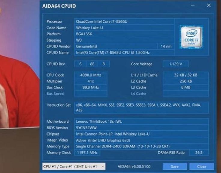 В этом экземпляре - Core i7-8565U, который вроде как быстрее должен быть