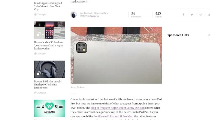 iPad Pro, на задней панели которого мы видим что? Правильно, мамину плиту с тремя камерами.
