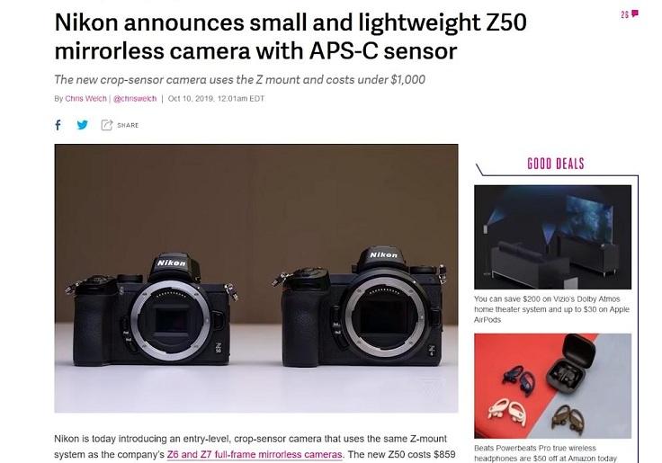 Nikon Z50 легкая беззеркалка с APS-C матрицей
