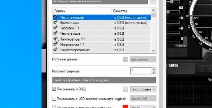 Галочками отмечены все графики, которые доступны непосредственно в окне программы.