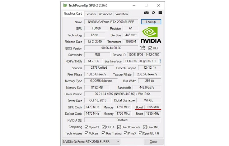 Увидеть базовые частоты и частоту буста можно в программе GPU-Z