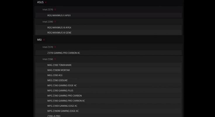 В списках QVL числятся только 2 платы на интеловском чипсете Z370
