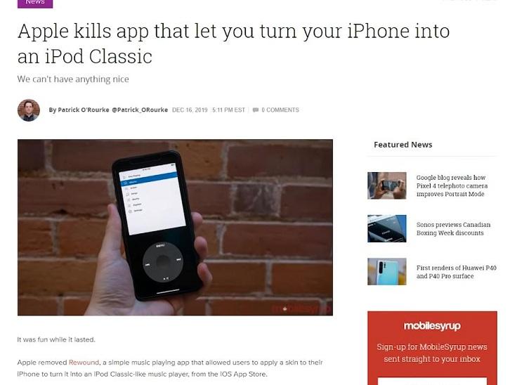 Плеер Rewound в App Ctore забанили