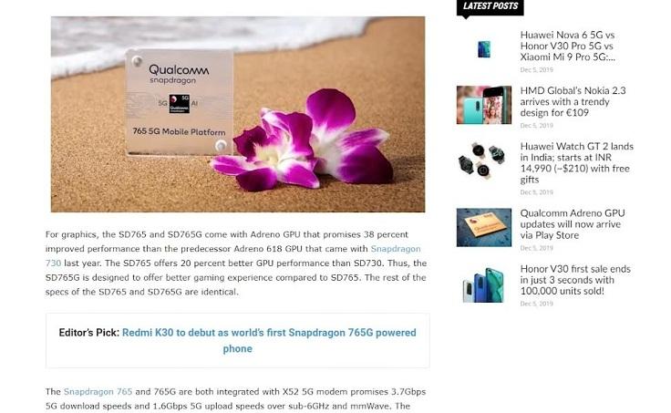 Для среднего сегмента Qualcomm приготовила другой чип - Snapdragon 765