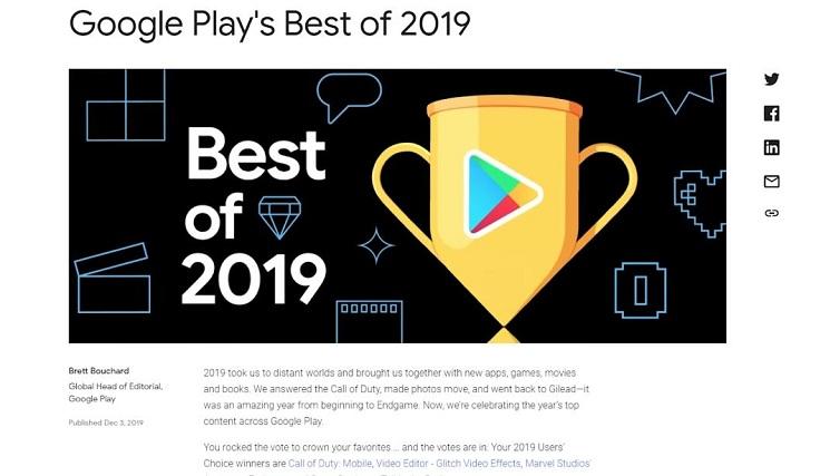 Google опубликовала свой топ самых популярных приложений и игр за 2019 год.