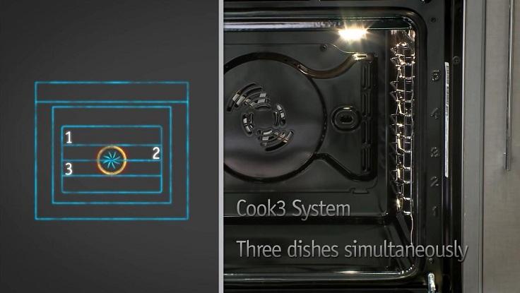 в духовке одновременно могут готовиться два и даже три блюда