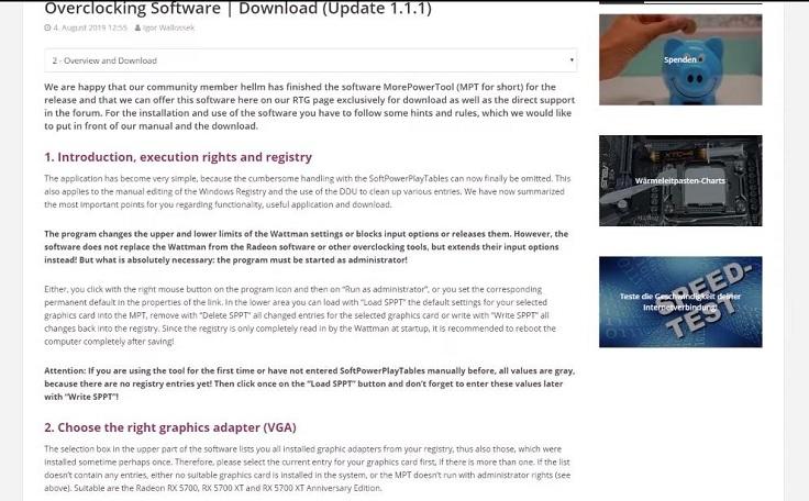 Есть возможность убрать все установленные AMD лимиты программой More Power Tool
