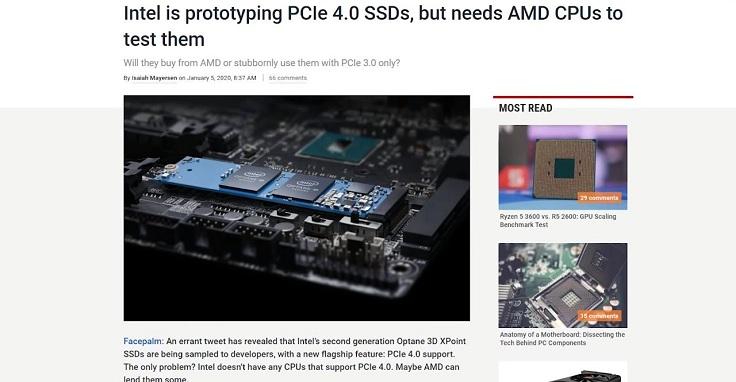 Intel выпустит SSD поддерживающий новый PCIE 4.0