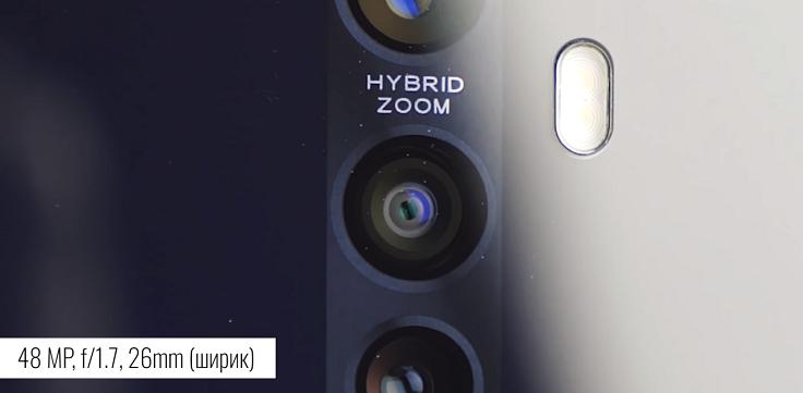 Sony IMX586 со своими 48 Мп со светосилой 1.7 и наличием оптического стаба