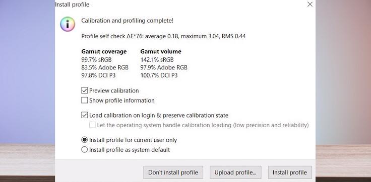 Заводская калибровка, Delta-E < 1.5, охват 100% sRGB, 83% NTSC, 84% AdobeRGB, 98% DCI P3