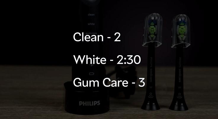 Каждый режим отличается временем чистки зубов