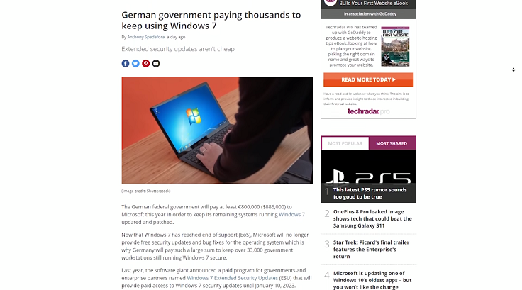 Германия потратит 800 000 ЕВРО на поддержку Windows