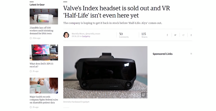 Все очки виртуальной реальности Index компания уже распродала