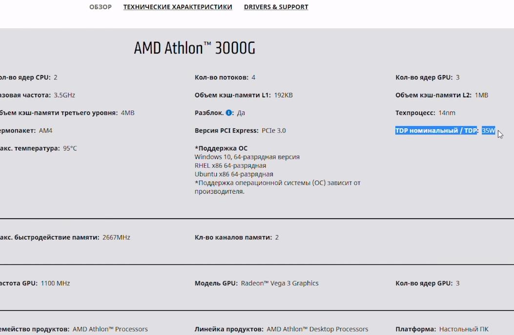 МГц, 35 Ватт TDP и простенький кулер в комплекте