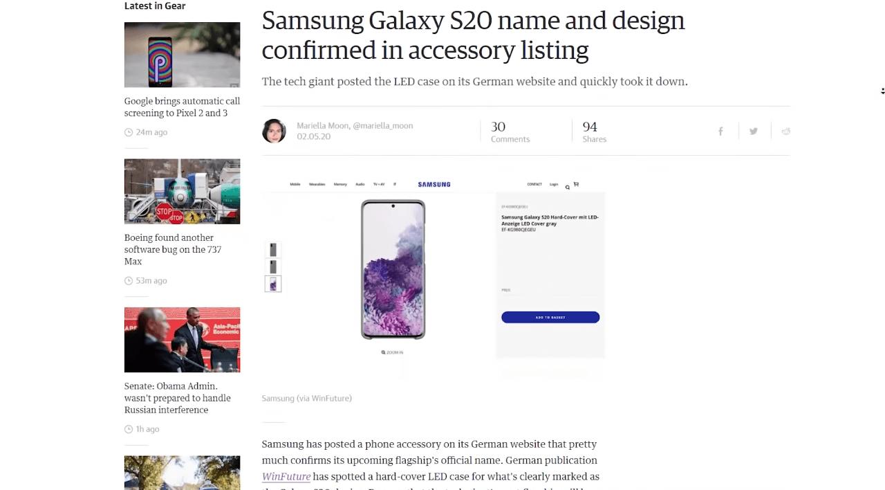 Samsung случайно подтвердила все утечки о Galaxy S20