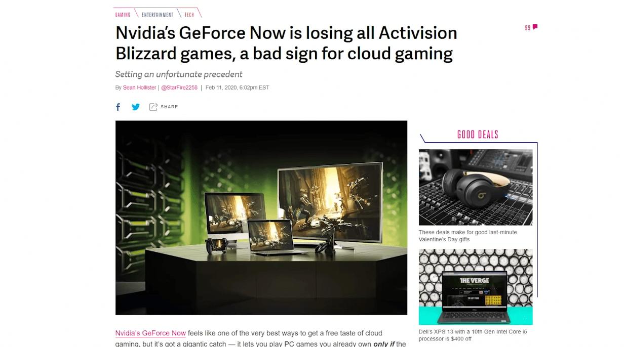 Из GeForce Now исчезли все игры Activision Blizzard