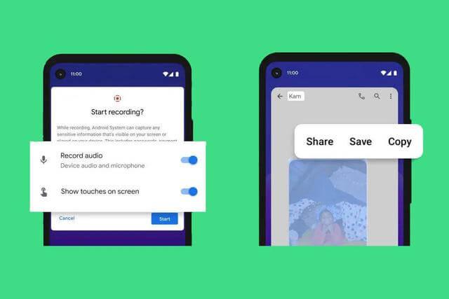 Android 11 официальный релиз - Запись экрана