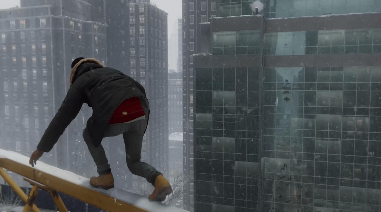 RtX — видите, на том здании видно как Майлз идет по крану