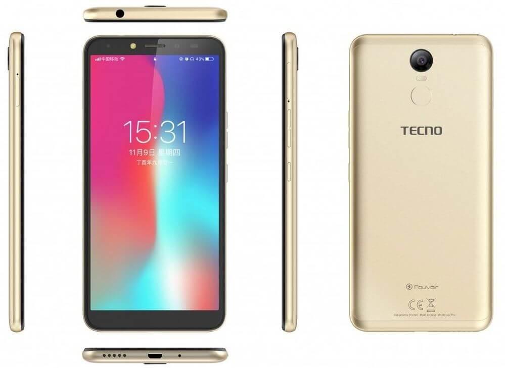 Смартфон TECNO Pouvoir 2 Pro (LA7 pro) Champagne Gold