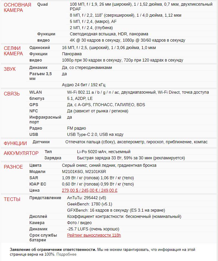 Полная спецификация Xiaomi Redmi Note 10 Pro - 2