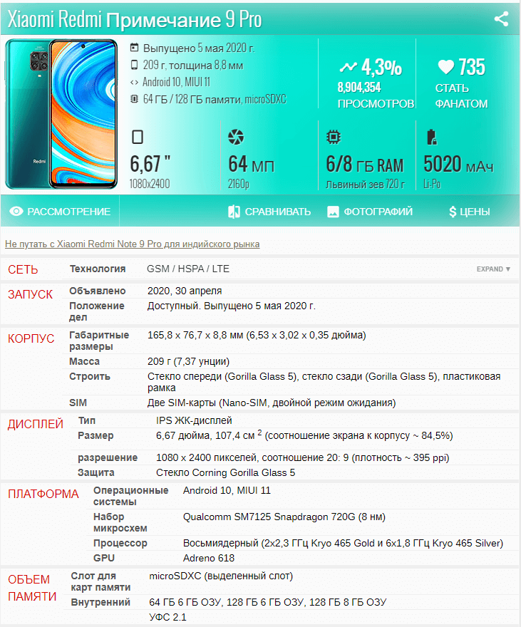 Xiaomi Redmi Note 9 Pro - все характеристики смартфона
